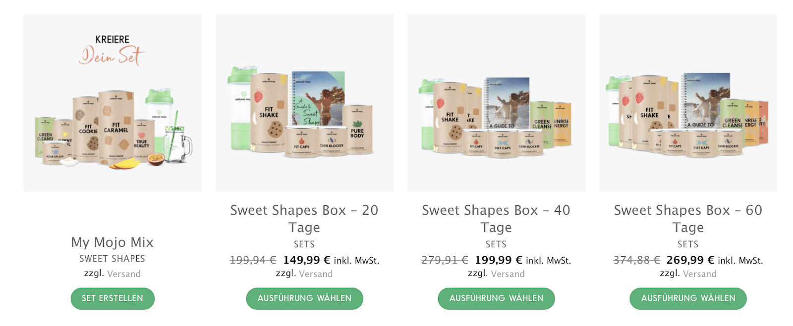 Sweet Shapes Box 20 40 60 Tage Natural Mojo