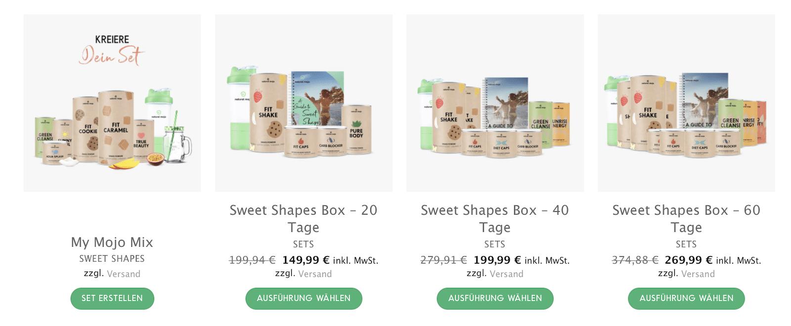 Sweet Shapes Box 20 40 60 Tage Natural Mojo