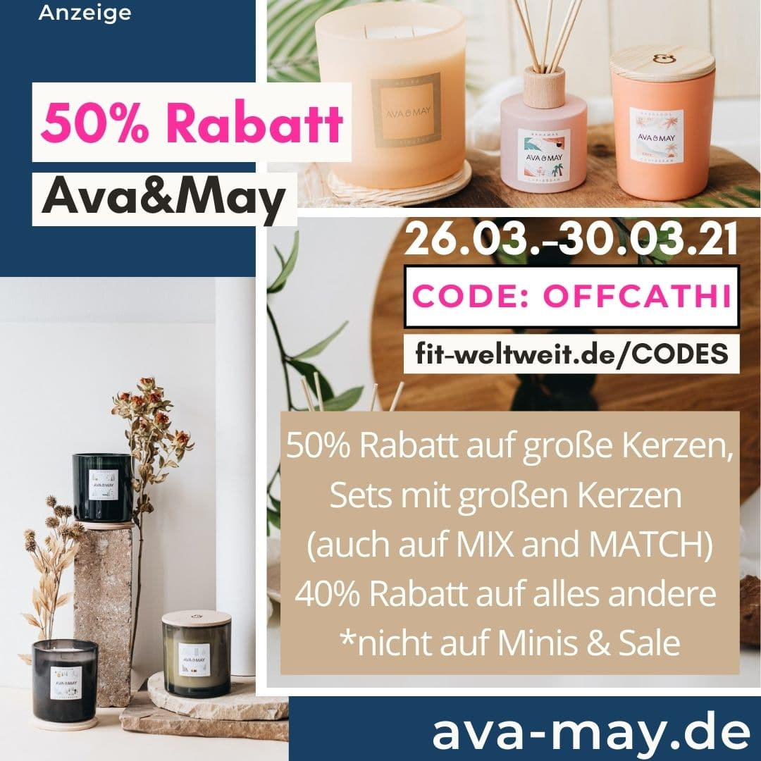 50% Rabattcode Ava and May März 2021
