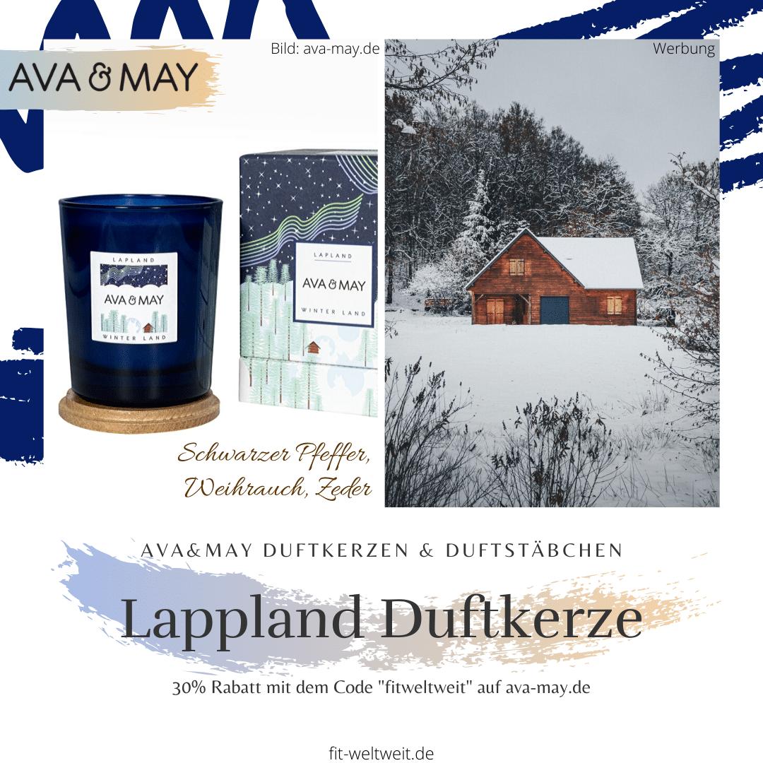 """#Duftkerze #Lappland Ava May #Kerze Wooden #Cabin– DieWinterland Duftkerzeriecht hölzern,rauchig undherbnach dunklerenDuftnoten wie Weihrauch, Zeder und schwarzem Pfeffer. Einfach total angenehm, entspannend und natürlich waldig. // Eigenschaften: 100% Soja-Wachs, 40 Stunden Brenndauer, Echtholzdeckel - auch perfekt als Untersetzer geeignet #Duftkerzen #Wohnzimmer #cozy #badezimmer #wohnung #wohnen #design #deko #dekoration #reisen Ava & May Shop mit dem Code """"fitweltweit"""" 30% Rabatt (Werbung)"""