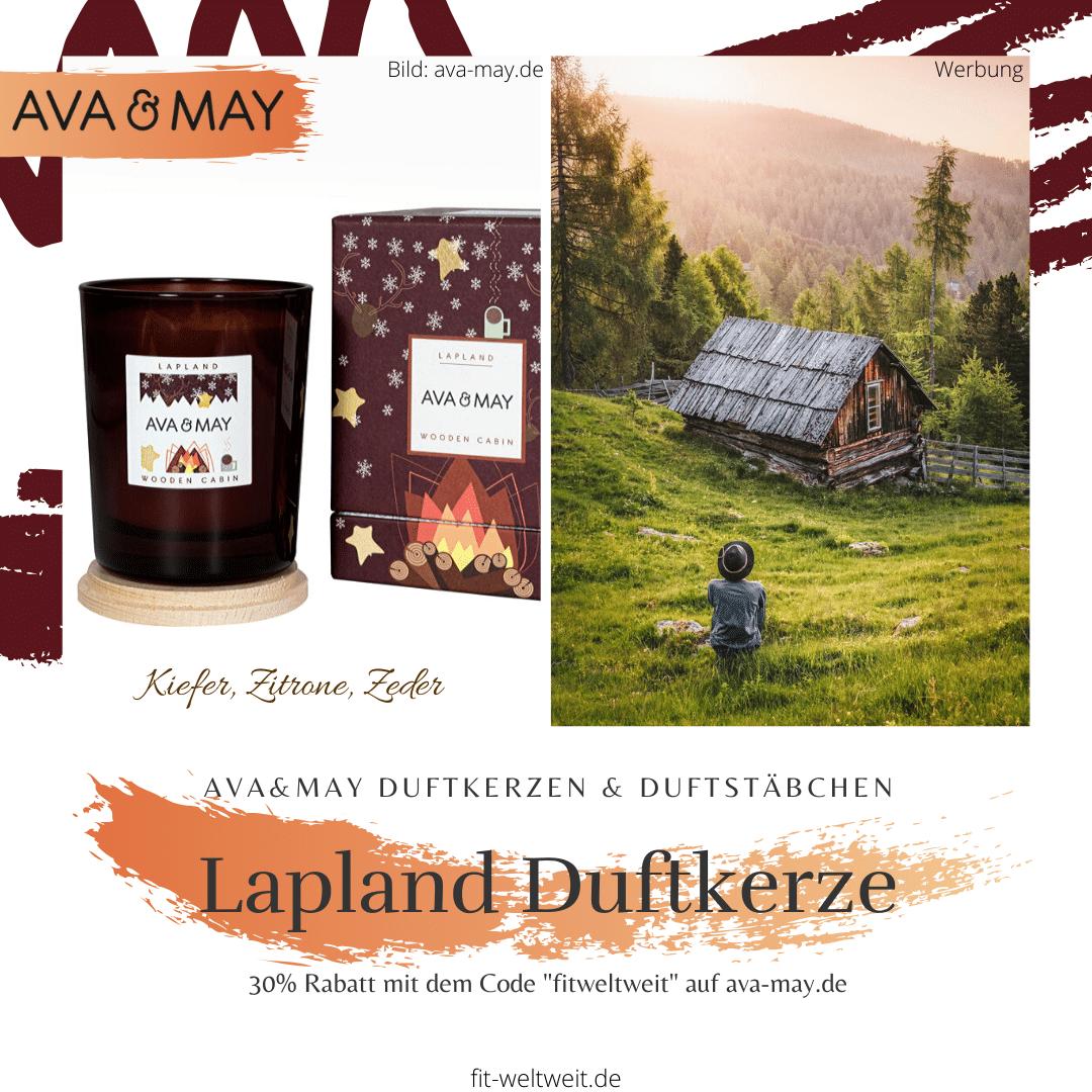 """#Duftkerze #Lappland Ava May #Kerze Wooden #Cabin– DieWooden Cabin Duftkerzeriecht herb,spritzig undbelebendnach frischen Duftnoten wie Kiefer, Zeder und Zitrone. Einfach total angenehm, frisch und entspannend.// Eigenschaften: 100% Soja-Wachs, 40 Stunden Brenndauer, Echtholzdeckel - auch perfekt als Untersetzer geeignet #Duftkerzen #Wohnzimmer #cozy #badezimmer #wohnung #wohnen #design #deko #dekoration #reisen Ava & May Shop mit dem Code """"fitweltweit"""" 30% Rabatt (Werbung)"""