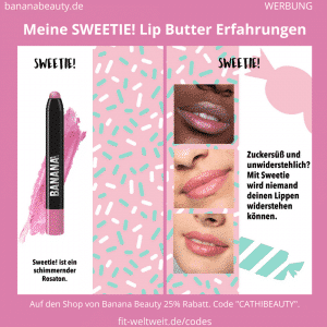 Die Farbe Sweetie! hat einen ganz leichten Schimmer und Glitzerpartikel und das rosa wirkt schimmernd und lässt die Lippen voluminöser erscheinen. Perfekt für etwas Glamour und wenn du es feminin magst, wird er dir sehr gefallen.Ich trage eigentlich selten rosa, aber diese Lip Butter gefällt mir richtig gut.