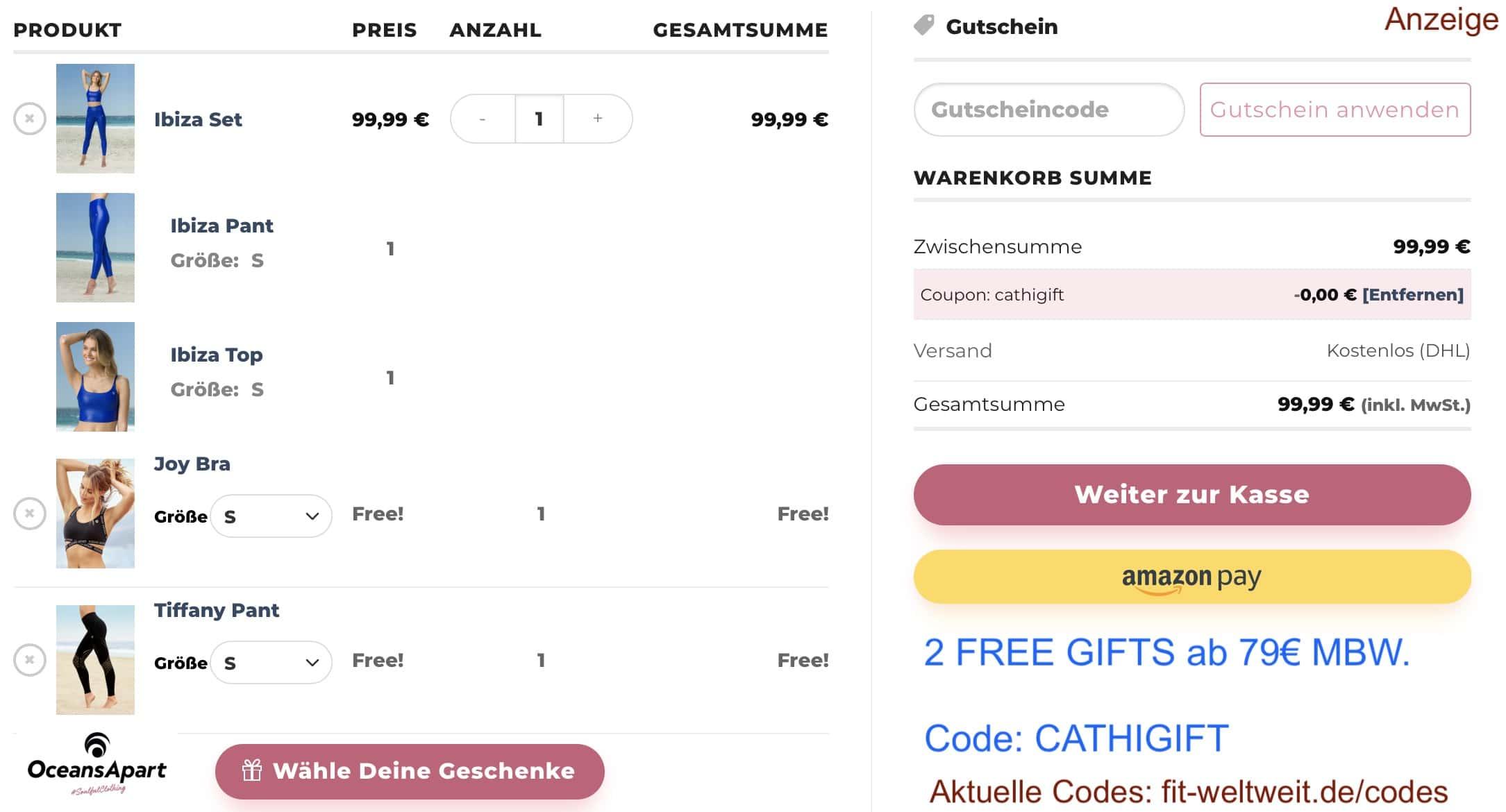 """BEST !! Free 2 Gift Chooser: 50% Rabatt (2 für 1 Aktion - 1 Set kaufen, 2 Sets bekommen) ab 79€ Warenkorbwert bekommst du mit dem Code """"CATHIGIFT"""" 2 Free Gifts (Auswahl aus 11 Teilen) geschenkt dazu. 2 Top oder 2 Leggings oder ein Set."""