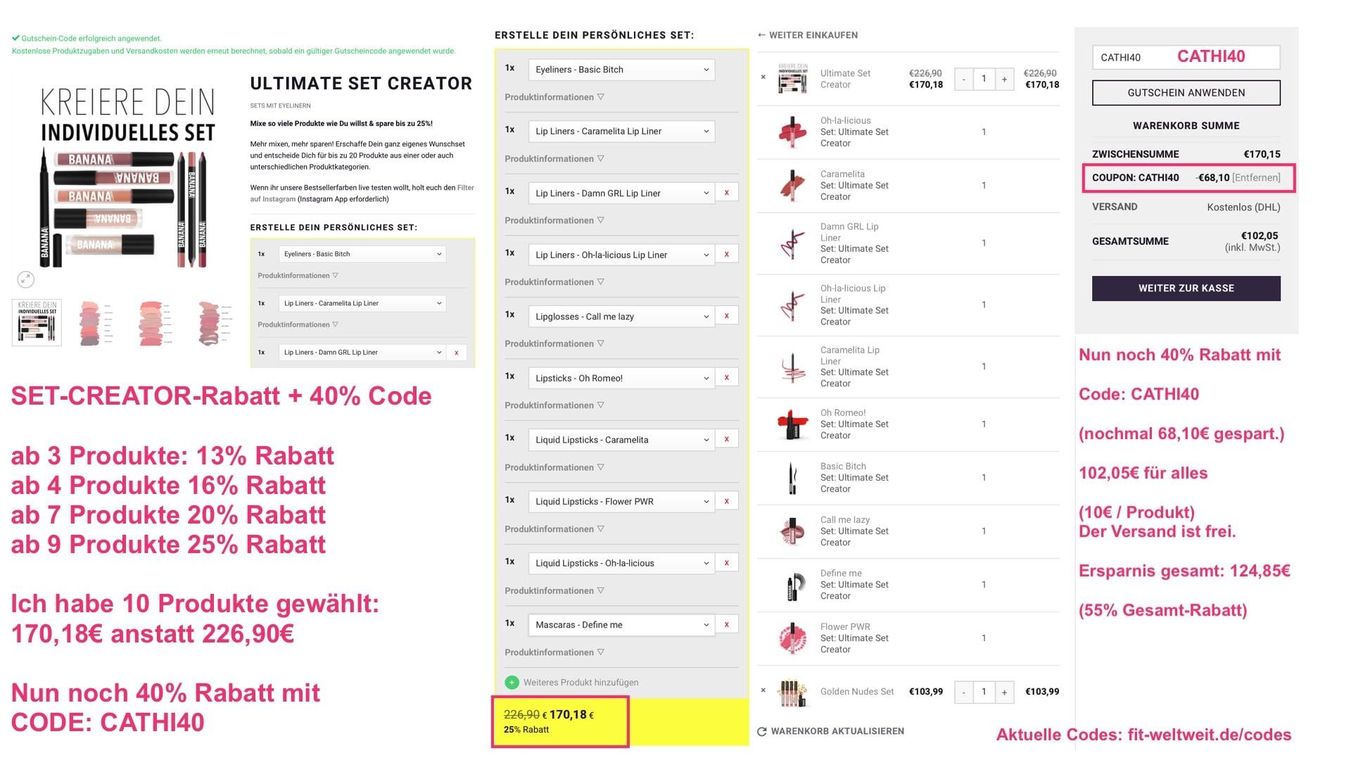 Banana Beauty Code 40% Set Rabatt Gutschein Doppelrabatt