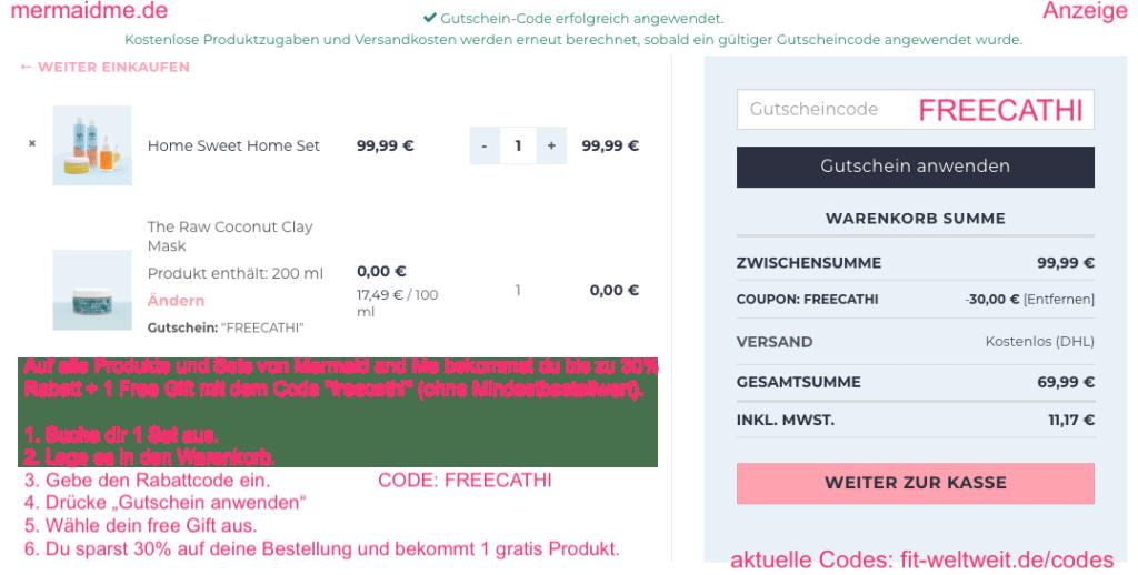 Mermaid Me 30% Rabatt bekommen free Gift Code gratis Produkt Geschenk