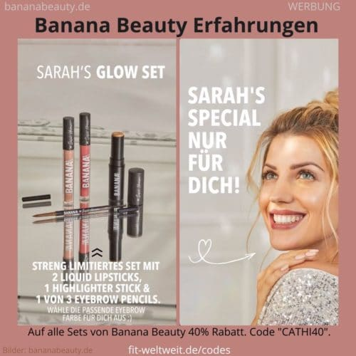 Sarahs Glow Set Banana Beauty Erfahrungen Highlighter Liquid Lipsticks Augenbrauenstift