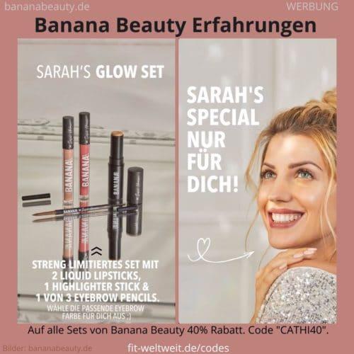 Sarahs Glow Set Banana Beauty Erfahrungen Highlighter Liquid Lipsticks Augenbrauenstift
