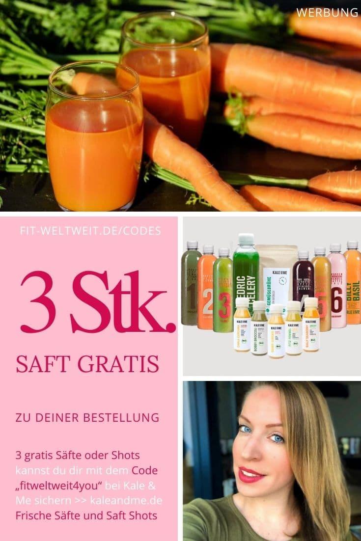 """Kale and Me Gutschein Code gratis Säfte Kale & Me Code: 3 gratis Säfte einfach geschenkt dazu mit dem Code """"fitweltweit4you"""" zu deiner Bestellung (Infos)."""