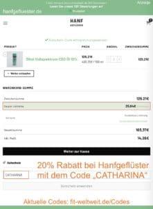 HANFGEFLÜSTER 20% Gutschein Code 40% Rabatt CBD ÖL