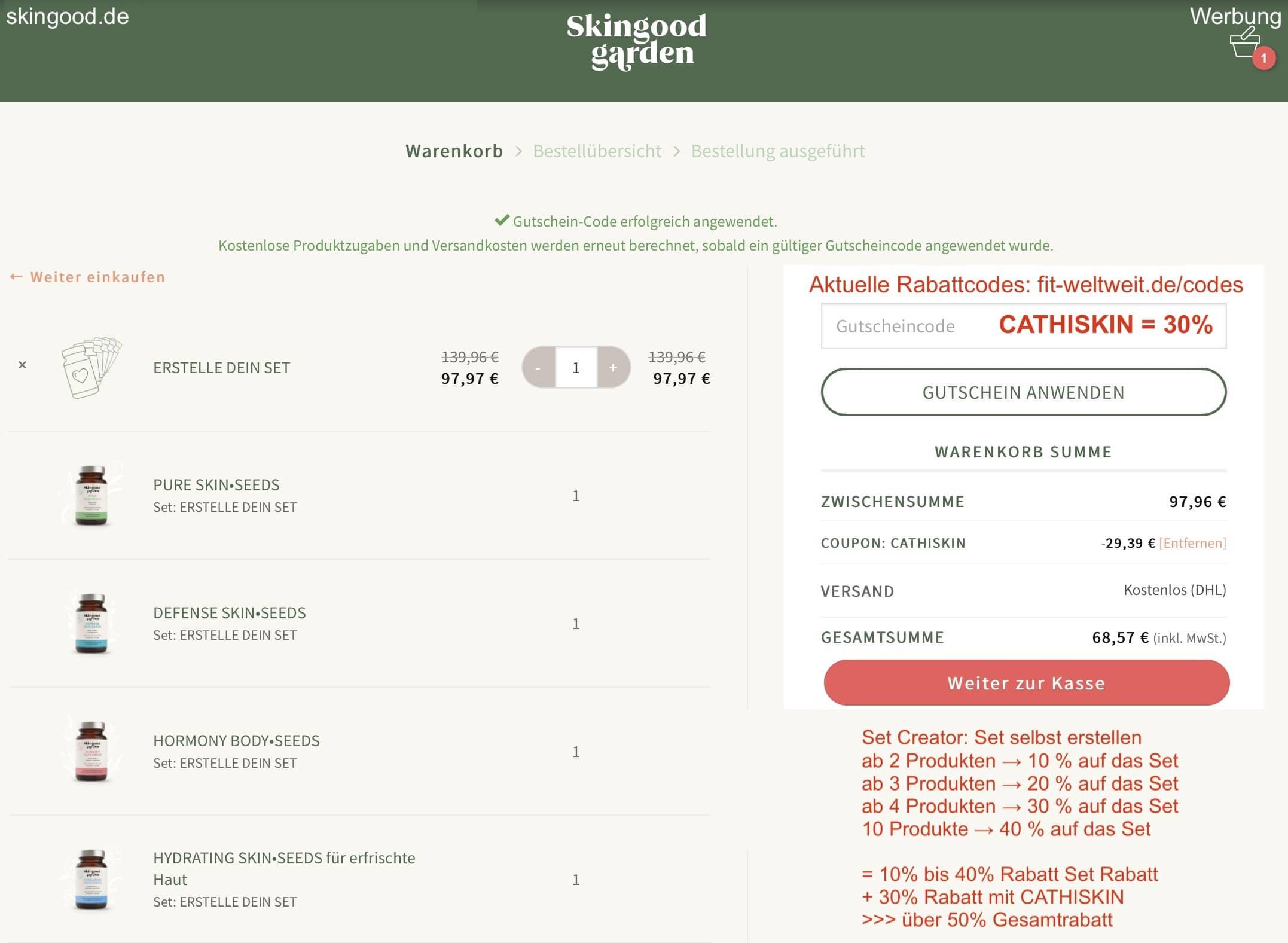 SKINGOOD GARDEN CODE 30% GUTSCHEIN SET CREATOR 40% RABATT