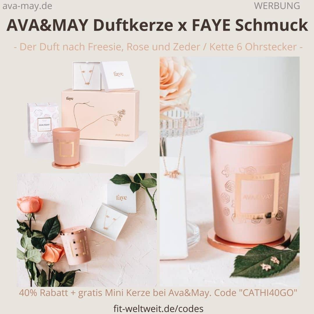 AVA&MAY Duftkerze FAYE Schmuck Kette Ohrstecker Erfahrungen Bewertung Geschenkbox limited Edition