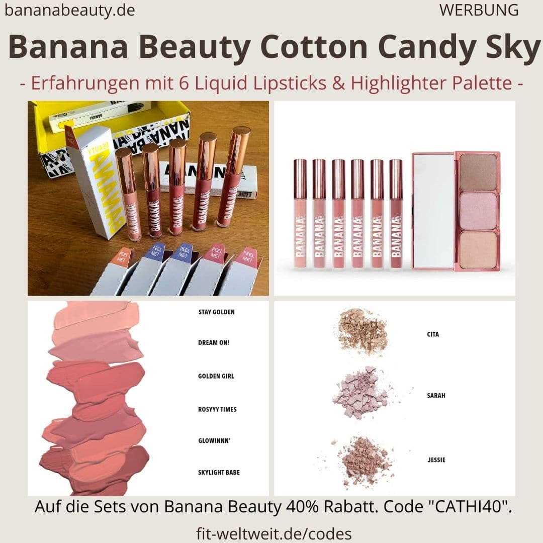 Banana Beauty COTTON CANDY SKY Limited Edition aus Liquid Lipsticks und Highlighter Palette von JessicaPaszka, Sarah Lombardi und Cita Maass. Meine Erfahrungen und Bewertung mit der Herbst Collection(Werbung) Gleich vorweg: Die Highlighter Palette ist ein Must-Have. Ich habe mir das Cotton Candy Sky Set