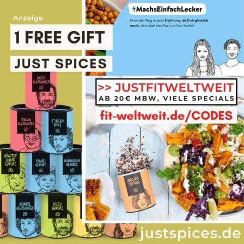 Just Spices Code Ferbuar 2021 Gratis Gewürze gratis Versand