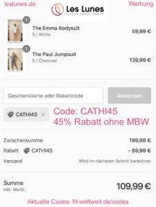 Les Lunes Code 45% Rabatt Rabattcode Gutschein Coupon