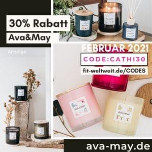 AVA and May Code Februar 2021 30% Rabatt auf alles Duftkerzen große Kerzen Erfahrung