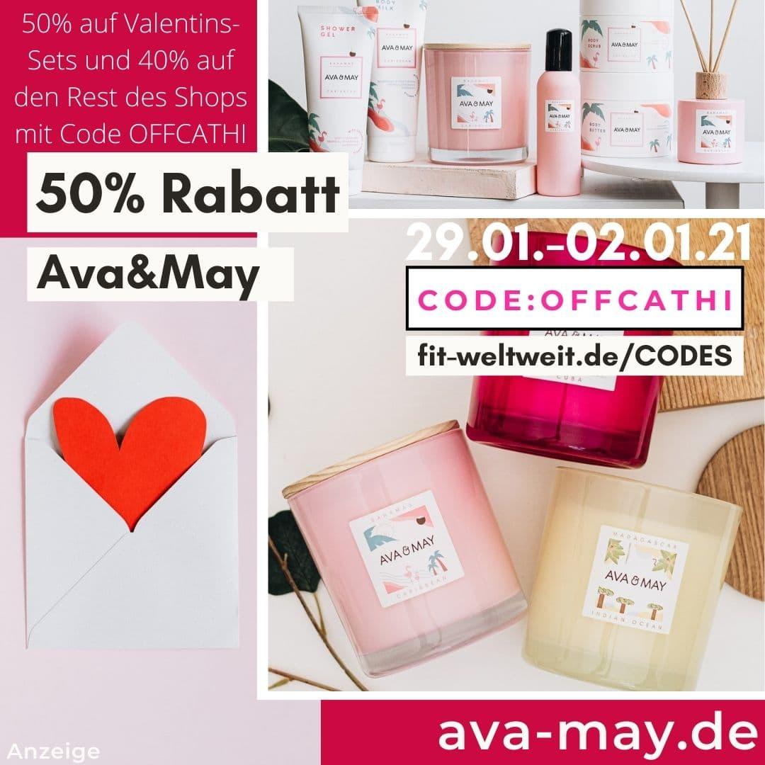Ava and May Code Februar 2021 50% Rabatt Valentinstagsaktion