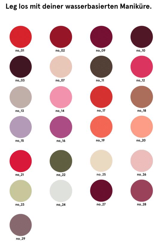 waterbased wasserbasierte Farben von Gitti Nagellack Nagelfarben
