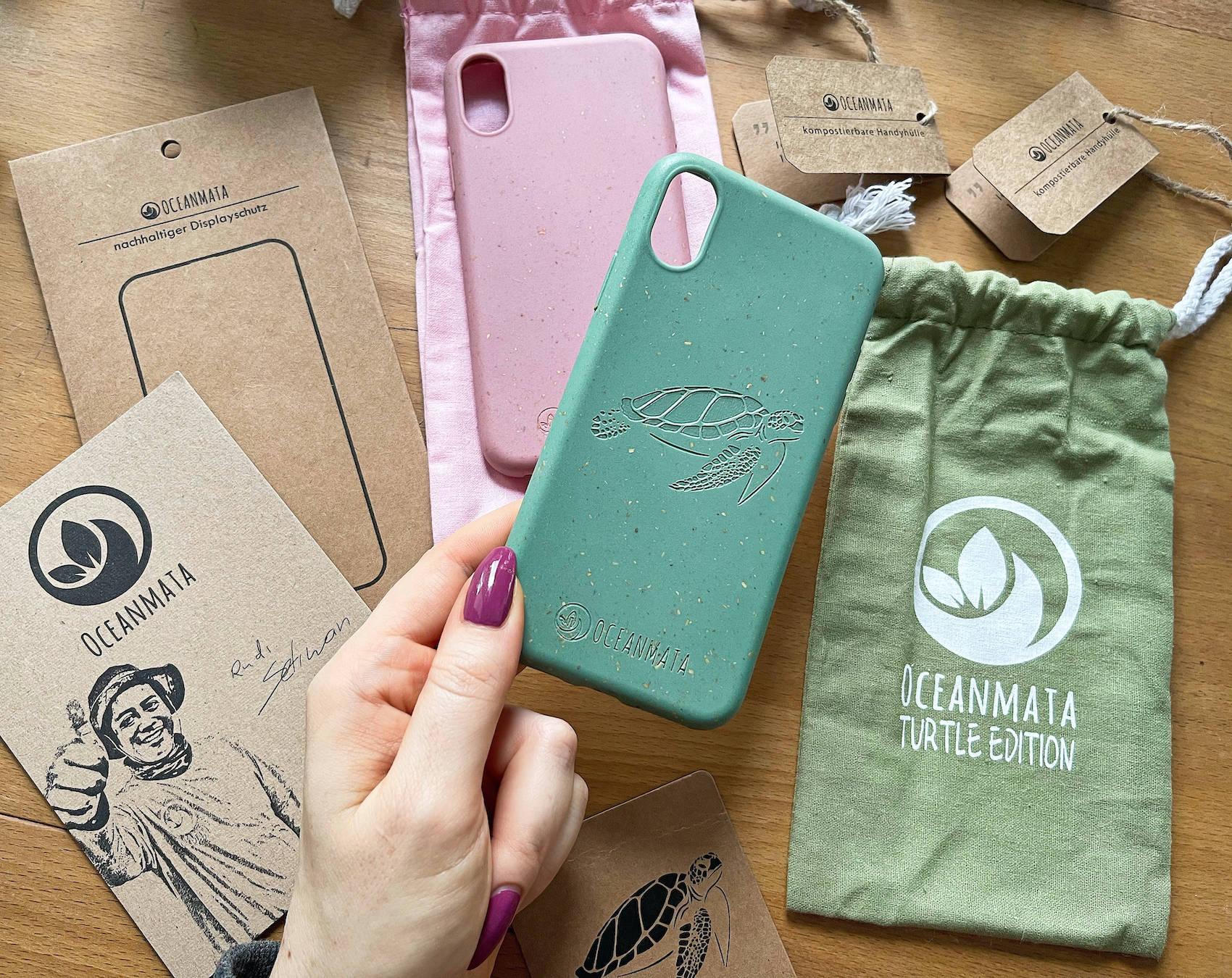 OceanMata biologische iphone Hülle TURTLE LIMITED EDITION DRUCK türkis Handyhülle ohne Plastik recycelt biologisch abbaubar