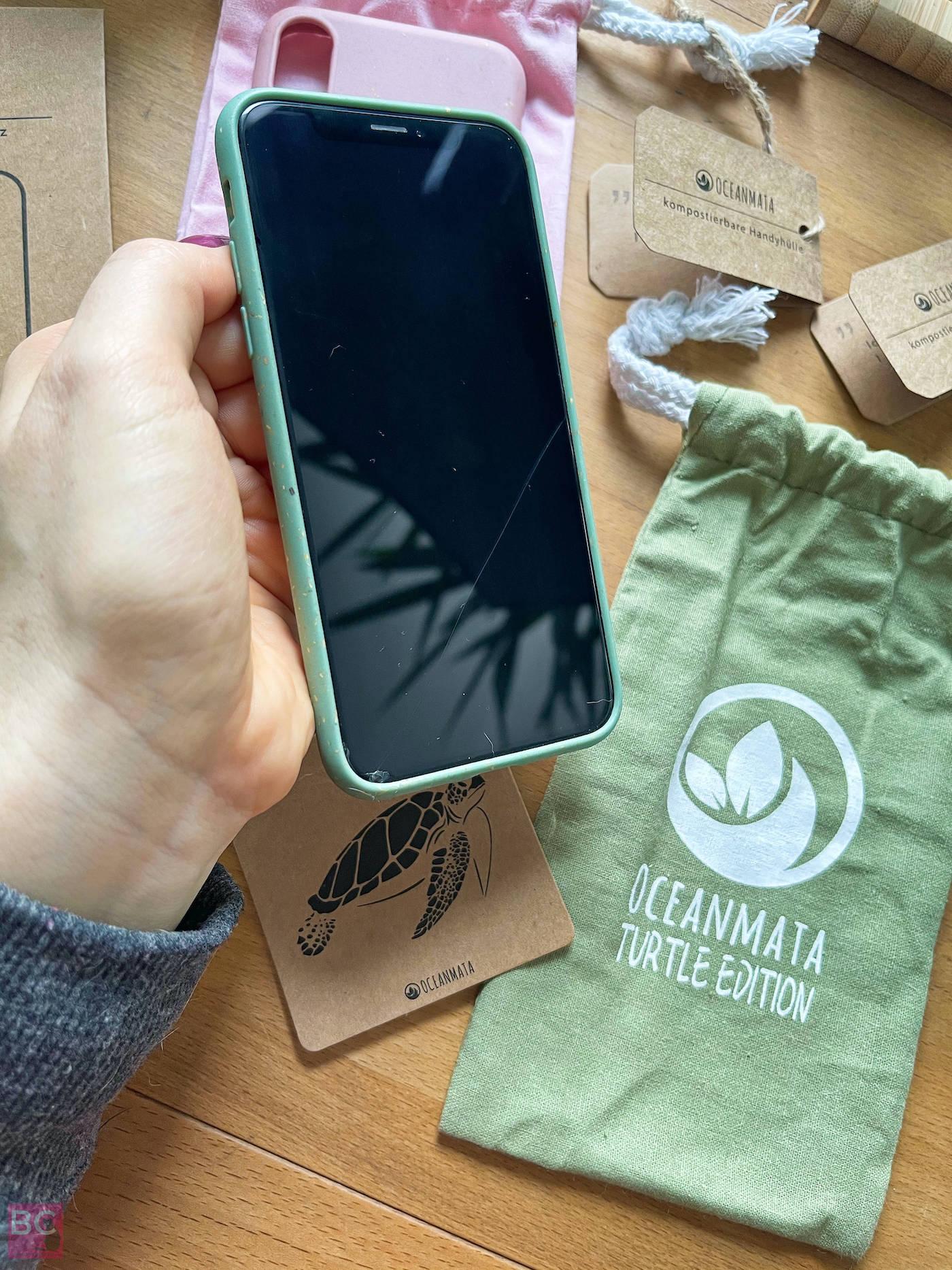 OceanMata biologische iphone Hülle TURTLE LIMITED EDITION türkis Handyhülle ohne Plastik recycelt biologisch abbaubar