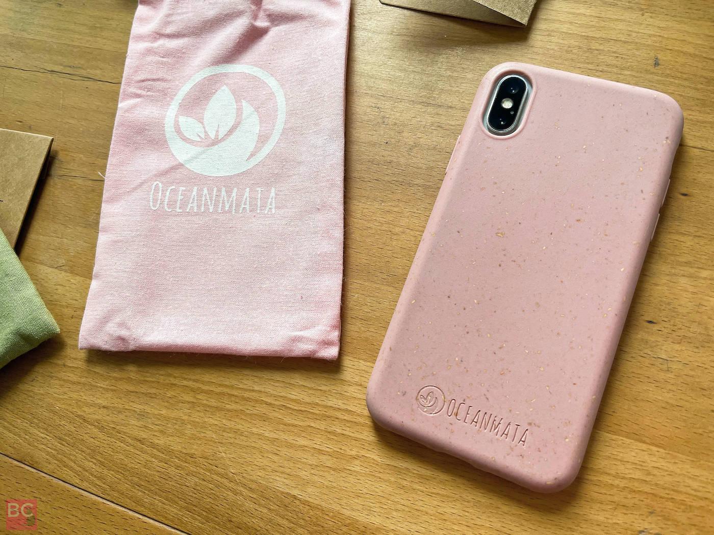 Stoffbeutel Etui OceanMata biologische iphone Hülle rosa Handyhülle ohne Plastik recycelt biologisch abbaubar hinten