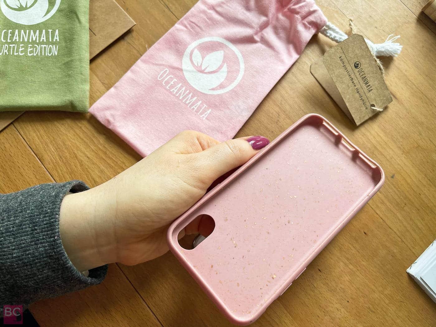 innen rose OceanMata biologische iphone Hülle rosa Handyhülle ohne Plastik recycelt biologisch abbaubar