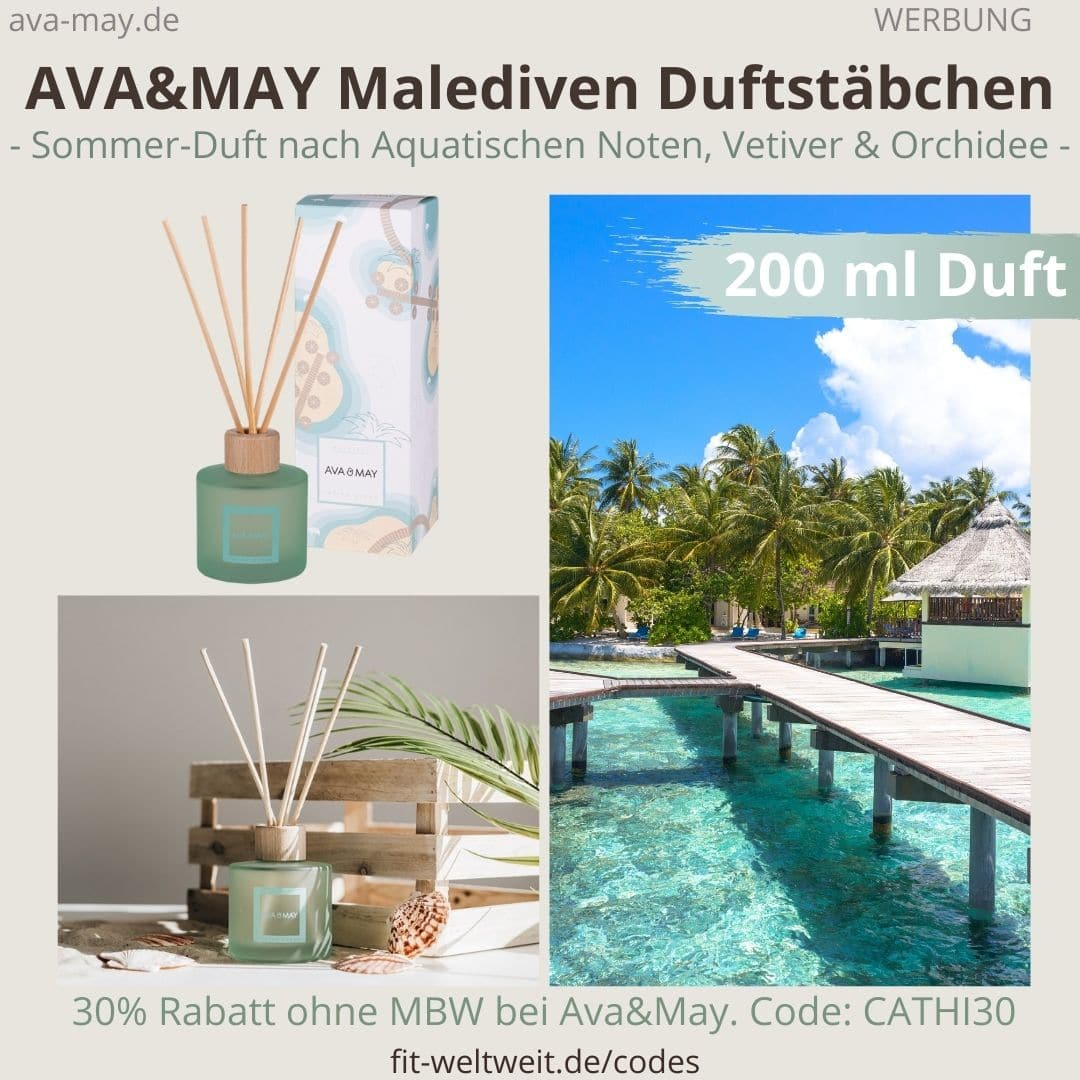 AVA and MAY Malediven große Duftstäbchen 200 ml Indian Ocean