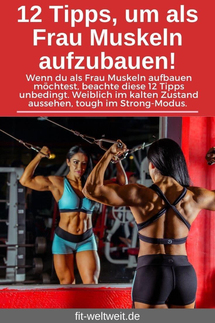 """Muskelaufbau Fitnesstipps als Frau - 12 Tipps für Frauen (Masseaufbau, Fettabbau, Abnehmen), die dichschnell zum Ziel bringen. """"Ausreden verbrennen keine Kalorien!"""" Dazu gibt es einen Trainingsplan mit den richtigen Übungen, Tipps zurWiederholung, derAnatomie, nützliche Supplements und die effektivste Ernährung. Es gibt einiges zu beachten, aber auch zahlreiche Mhythen aufzuklären. Besonders was das Training für Frauen angeht. Muskeln aufzubauen ist garnicht so kompliziert, wie du eventuell denkst. Halte dich an die 12 Tipps und integriere nach und nach die Tipps in dein Training."""