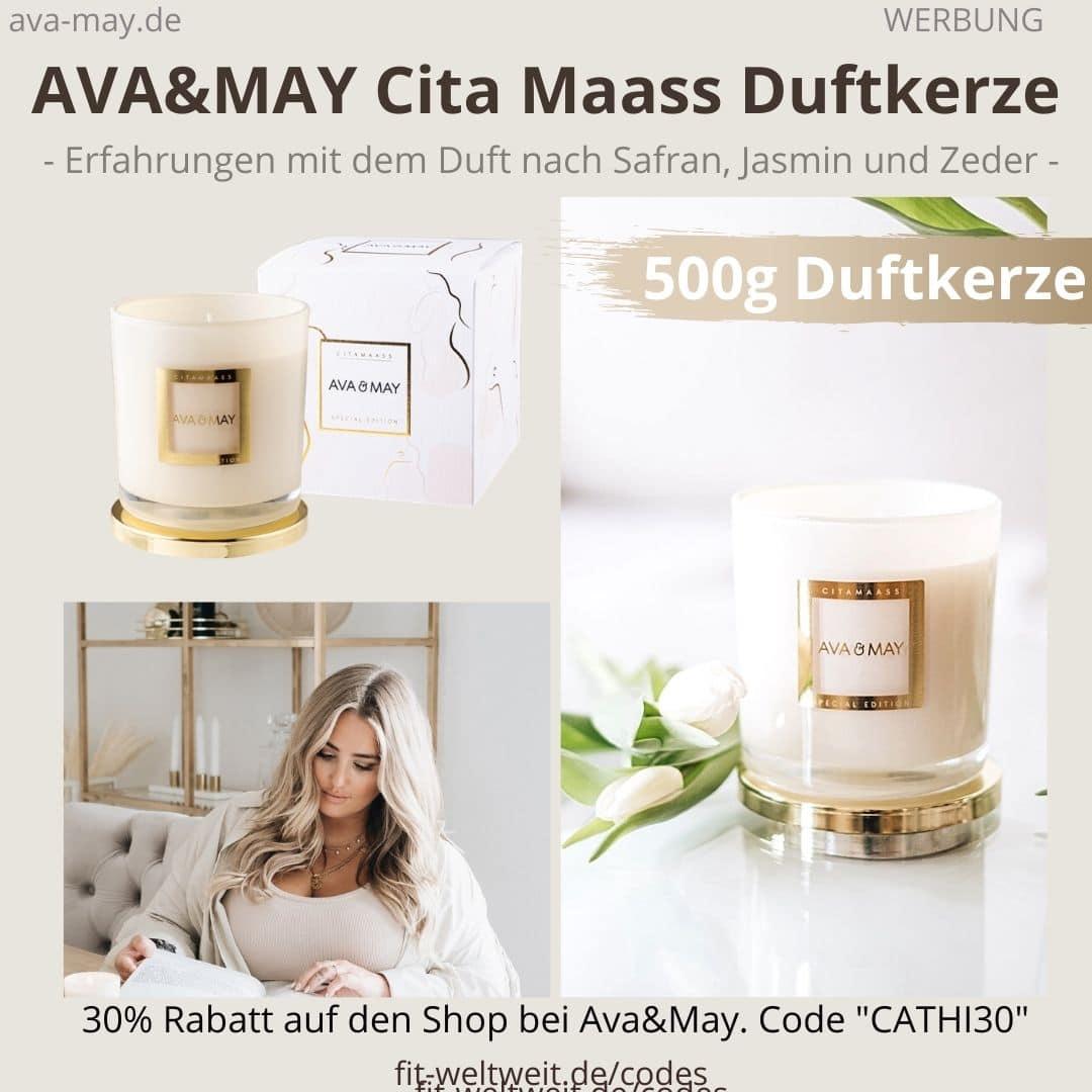 CITA MAASS DUFTKERZE AVA and MAY 500g Gold metall weiß