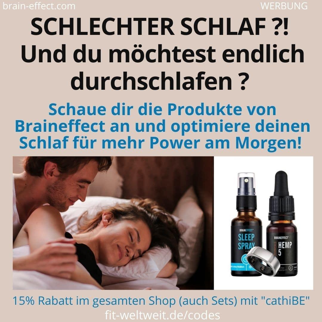 SCHLECHTER SCHLAF besser schlafen Tipps Produkte Erfahrungen Anwendung Braineffect