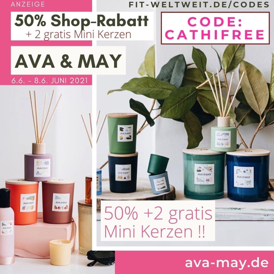 50% Rabattcode Ava and May + 2 gratis Mini Kerzen Geschenke Gutschein Code