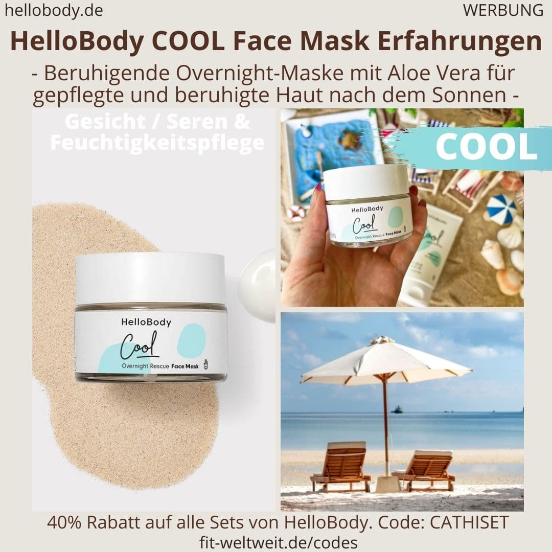 COOL Face Mask HelloBody Erfahrungen Test Gesichtsmaske After Sun Hello Body