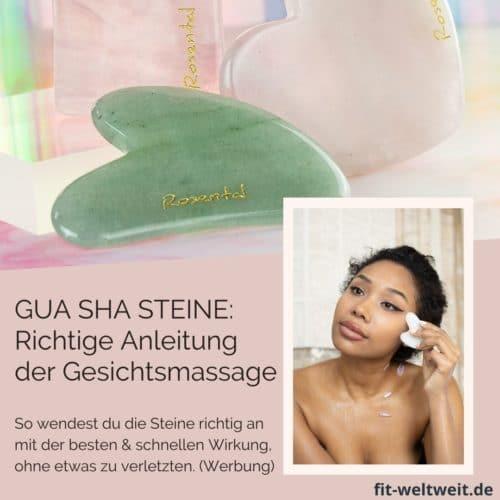 GUA SHA Stein Massage Anwendung Face Yoga