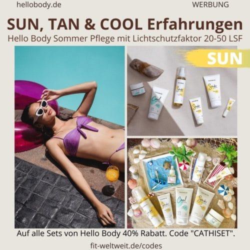 HELLOBODY Lichtschutzfaktor Produkte ERFAHRUNG SUN TAN COOL Sommer Edition Hello Body