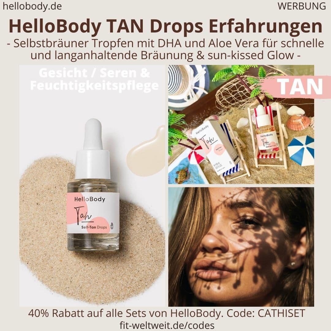 SELF TAN DROPS HelloBody Erfahrungen Selbstbräuner Tropfen Test Gesichtspflege Hello Body