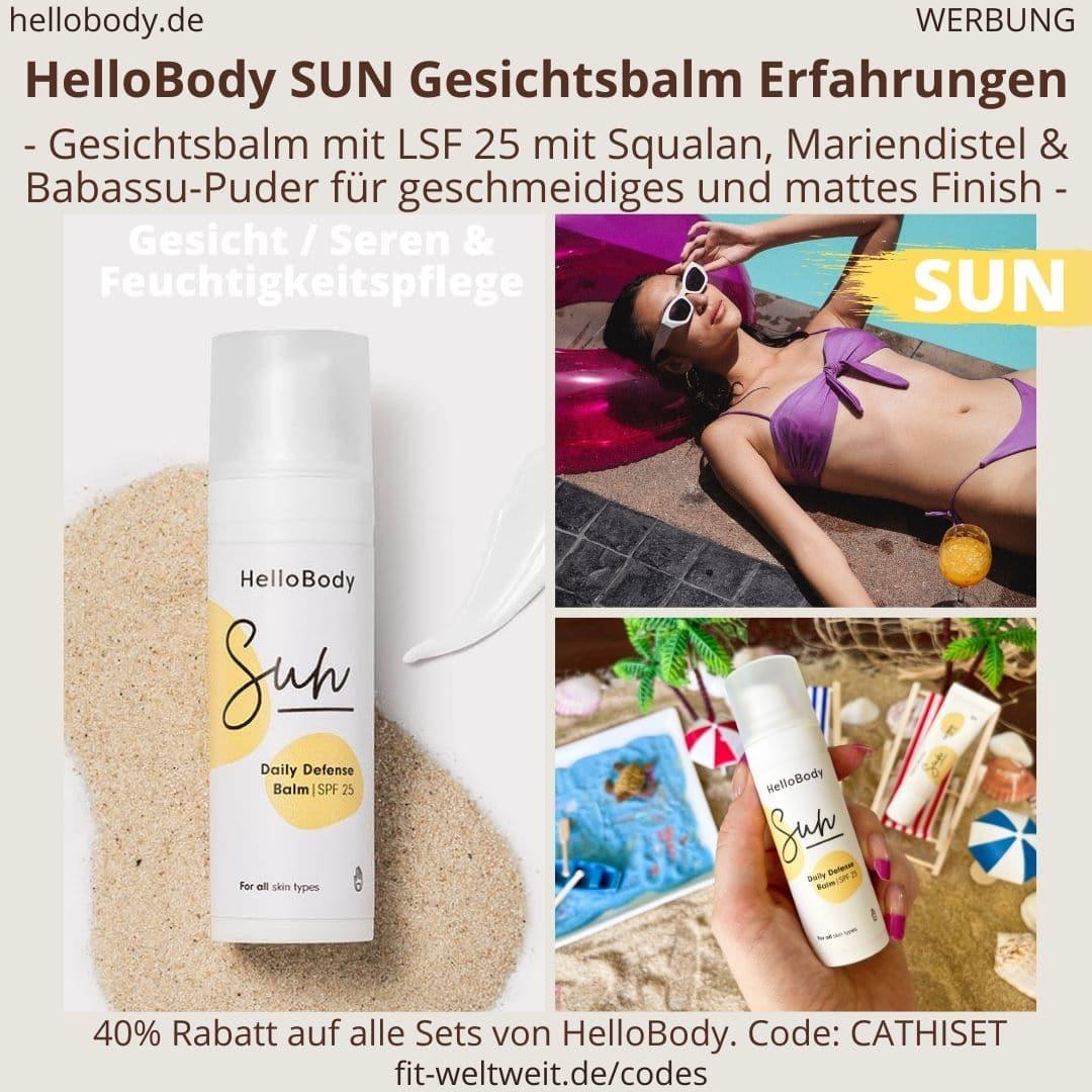 SUN HelloBody Gesichtsbalm LSF 30 Erfahrungen Test Gesichtspflege Daily Defense Balm Hello Body