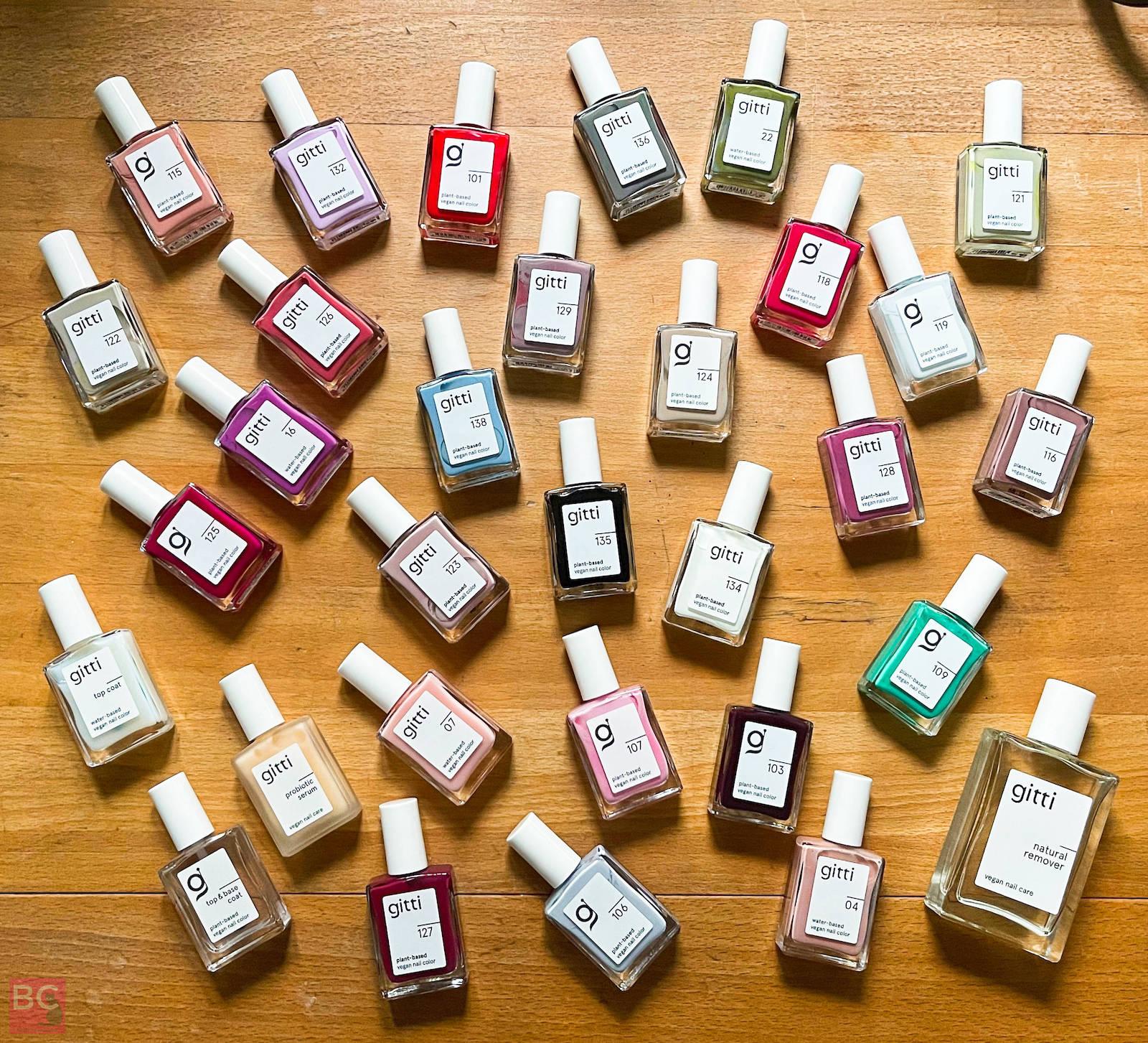 Gitti Nagellack Erfahrungen Farben Auswahl Nagellfarben vegan pflanzlich Wasserbasis