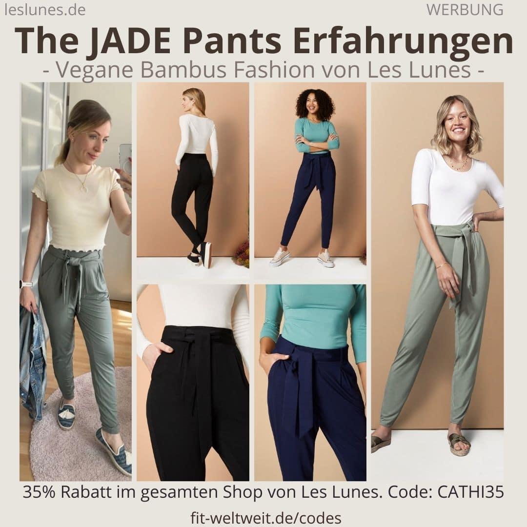 Die The JADE PANTS ist eine lockere Hose / Pants mit edlem Schnitt von Les Lunes. Gehört zu meinen Favoriten. Habe mega Erfahrungen gemacht mit der richtigen Größe und dem blickdichten Stoff.