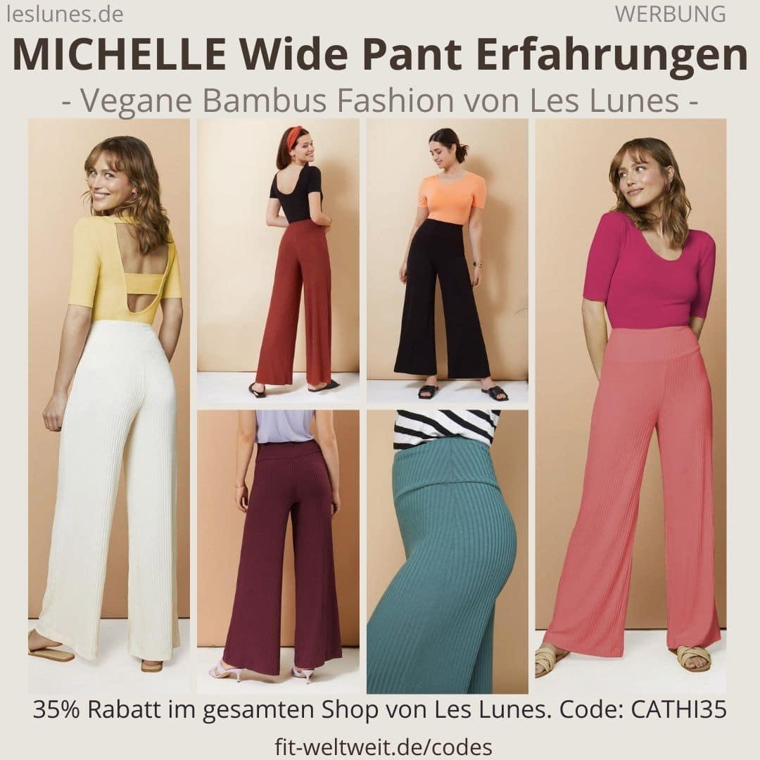 Die The MICHELLE WIDE PANTS ist eine Hose / Schlaghose von Les Lunes mit geripptem Stoff.
