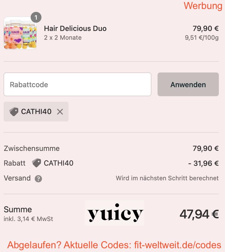 YUICY Rabattcode 40% Rabatt Gutschein Code + gratis Free Gift