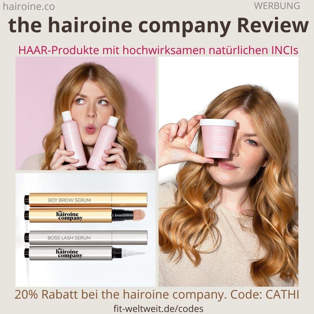 the hairoine company Erfahrungen Reiview Bewertung Haarprodukte Brow Lash Serum Bombshell Shampoo Conditioner